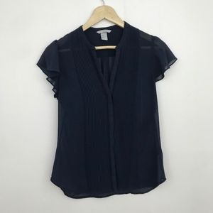 H&M Navy Blue Pleated Sheer Button Up Blouse